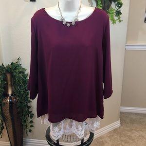 Burgundy Lace bottom blouse